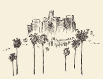 Los Angeles, California, Skyline Engraved Sketch Royalty Free Stock Image