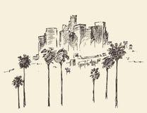 Los Angeles, California, Skyline Engraved Sketch Royalty Free Stock Image