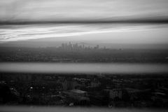 Los Angeles, California Skyline. From the window stock photography