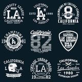 Los Angeles, California typography. Set of athletic print for t-shirt design. Graphics for sport apparel. Collection of tee shirt. Los Angeles, California Royalty Free Stock Photography