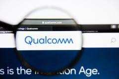Los Angeles, California, U.S.A. - 25 gennaio 2019: Homepage del sito Web di Qualcomm Logo di Qualcomm visibile sullo schermo di v immagine stock
