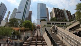 Angels Flight funicolar. Los Angeles, California, United States - August 9, 2018: Angels Flight, view from lower end, is a funicular railway in Hill Street stock video footage