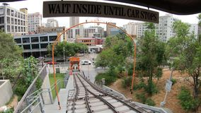 Angels Flight Los Angeles POV. Los Angeles, California, United States - August 9, 2018: POV view on Angels Flight, a funicular railway in Hill Street, Bunker stock video footage
