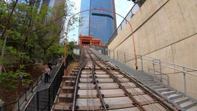 Angels Flight Los Angeles hyper lapse. Los Angeles, California, United States - August 9, 2018: POV view HYPER LAPSE on Angels Flight, a funicular railway in stock video