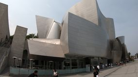 Walt Disney Concert Hall. Los Angeles, California, United States - August 9, 2018: stairway of Walt Disney Concert Hall, futuristic construction designed by stock video