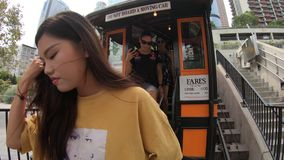 Angels Flight end ride. Los Angeles, California, United States - August 9, 2018: tourists exiting the Angels Flight, funicular railway on Hill Street, Bunker stock video