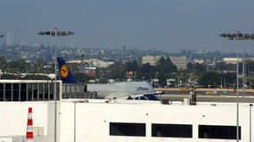 LOS ANGELES, CALIFORNIA, UNITED STATES - OCT 8, 2014: An Lufthansa Jumbo Jet Boeing 747 plane parked at LA International Stock Photography
