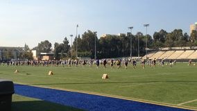 Marching Band Practicing Formations On Field UCLA stock footage