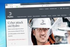 Los Angeles, California, USA - 08 April 2019: Illustrative Editorial of Norsk Hydro website homepage. Norsk Hydro logo visible on. Display screen stock photography