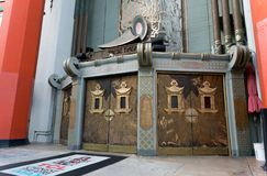 Close up of Grauman`s Chinese Theater on Hollywood Boulevard. Los Angeles, California, USA 12, 2017: Close up of Grauman`s Chinese Theater on Hollywood stock photography