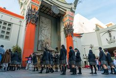 Group of Asian girl at Grauman`s Chinese Theater on Hollywood Boulevard. Los Angeles, California, USA 12, 2017: Close up of Grauman`s Chinese Theater on stock images