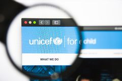 Los Angeles, California, USA - 27 December 2018: UNICEF website homepage. UNICEF logo visible. On screen stock photos