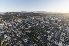 Hollywood Morning Aerial Los Angeles. Los Angeles, California, USA - February 20, 2018:  Aerial morning view of downtown Hollywood in Southern California Royalty Free Stock Photos