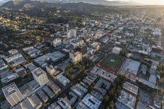 Hollywood Bl Morning Aerial Los Angeles. Los Angeles, California, USA - February 20, 2018:  Aerial morning view of towards Hollywood Bl near Highland Av in Stock Photos