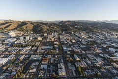 Hollywood in Los Angeles Morning Aerial. Los Angeles, California, USA - February 20, 2018: Aerial morning view up Highland Av in Hollywood California Royalty Free Stock Photo