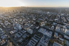 Hollywood Blvd Morning Aerial Los Angeles. Los Angeles, California, USA - February 20, 2018: Aerial sunrise view of Hollywood Blvd near Highland Av with downtown Royalty Free Stock Photo