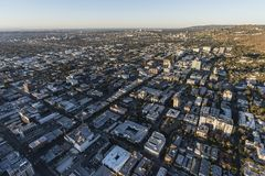 Hollywood Aerial Los Angeles California USA. Los Angeles, California, USA - February 20, 2018:  Aerial view of Hollywood in Southern California Royalty Free Stock Image
