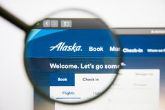 Los Angeles, California, USA - 14 February 2019: Alaska Air Group airline website homepage. Alaska Air Group logo. Visible on screen stock photography