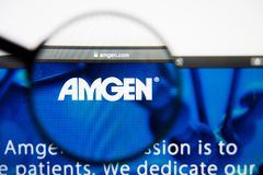 Los Angeles, California, USA - 28 February 2019: Amgen website homepage. Amgen logo visible on display screen. Los Angeles, California, USA - 28 February 2019 stock photos