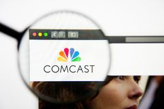 Los Angeles, California, USA - 28 February 2019: Comcast website homepage. Comcast logo visible on display screen. Los Angeles, California, USA - 28 February stock photos