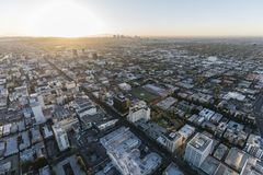 Hollywood Blvd Morning Aerial Los Angeles. Los Angeles, California, USA - February 20, 2018:  Dawn aerial view of Hollywood Blvd buildings and downtown LA in Stock Photography