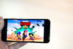 Los Angeles, California, USA - 19 February 2019: Hands holding a smartphone with BRAWL STARS game