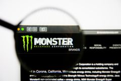 Los Angeles, California, USA - 28 February 2019: Monster Beverage website homepage. Monster Beverage logo visible on. Screen, Illustrative Editorial stock photos