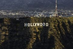 Hollywood Sign Los Angeles Morning Aerial. Los Angeles, California, USA - February 20, 2018:  Morning aerial view of the Hollywood Sign in Griffith Park with Royalty Free Stock Photos