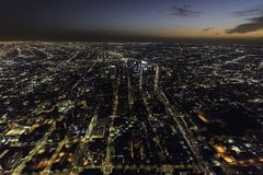 Downtown Los Angeles Night Aerial View Stock Image