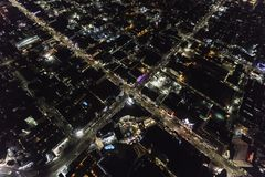 Hollywood Bl at Highland Ave Los Angeles California Night Aerial Stock Photography