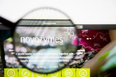 Los Angeles, California, USA - 28 February 2019: Novozymes website homepage. Novozymes logo visible on display screen. Los Angeles, California, USA - 28 February royalty free stock photo
