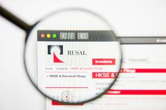 Los Angeles, California, USA - 14 February 2019: UC Rusal website homepage. UC Rusal logo visible on display screen. royalty free stock photography