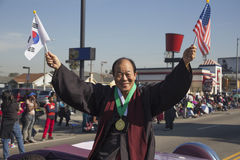 Los Angeles, California, USA, January 19, 2015, 30th annual Martin Luther King Jr. Kingdom Day Parade, Korean American holds flags Stock Images