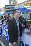 Los Angeles, California, USA, January 19, 2015, 30th annual Martin Luther King Jr. Kingdom Day Parade, LA Mayor Eric Garcetti with Royalty Free Stock Photos