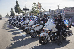 Los Angeles, California, USA, January 19, 2015, 30th annual Martin Luther King Jr. Kingdom Day Parade, motorcyle policemen in line Royalty Free Stock Photography