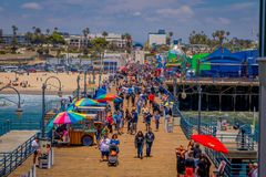 Free Los Angeles, California, USA, JUNE, 15, 2018: Outdoor View Of Crowd Of People Walking By The Santa Monica Pier Amusement Royalty Free Stock Images - 124214829