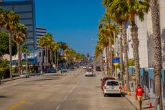 Los Angeles, California, USA, JUNE, 15, 2018: Outdoor view of caras parked at onde side of the streets of Beverly Hills royalty free stock photography