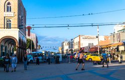 Celebratory carefree on Venice Beach, Los Angeles, California, USA Royalty Free Stock Images