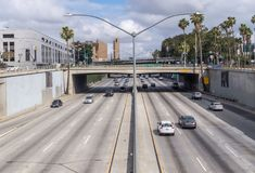 Busy traffic on the highway in Los Angeles, California royalty free stock images
