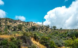 Scenic view of the Hollywood Hills and Hollywood inscription Stock Photography