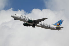 Frontier Airlines Airbus A320-214. LOS ANGELES, CALIFORNIA, USA - MARCH 8, 2013 - Frontier Airlines Airbus A320-214 takes off from Los Angeles Airport on March 8 Royalty Free Stock Photo