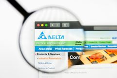 Los Angeles, California, USA - 12 March 2019: Illustrative Editorial, Delta Electronics website homepage. Delta. Electronics logo visible on screen royalty free stock images