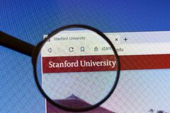 Los Angeles, California, USA - 3 March 2020: Stanford University website homepage logo visible on display screen, Illustrative