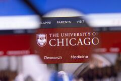 Los Angeles, California, USA - 3 March 2020: University of Chicago website homepage logo visible on display screen, Illustrative