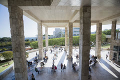 Los Angeles, California, USA, May 24, 2015, Getty Museum, outdoor walkway and columns royalty free stock image