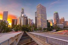 Los Angeles, California, USA Skyline. Over the highways at twilight stock photo