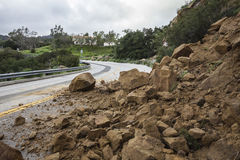 Los Angeles Canyon Road Landslide Stock Photos