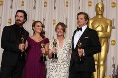 Christian Bale,Colin Firth,Melissa Leo,Natalie Portman. LOS ANGELES - 27: Christian Bale, Natalie Portman, Melissa Leo, Colin Firth in the Press Room at the 83rd royalty free stock photos