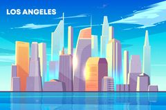 Los Angeles city bay skyline cartoon vector vector illustration
