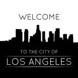 Los Angeles. The city of Los Angeles. Black and white silhouette and lettering Stock Image